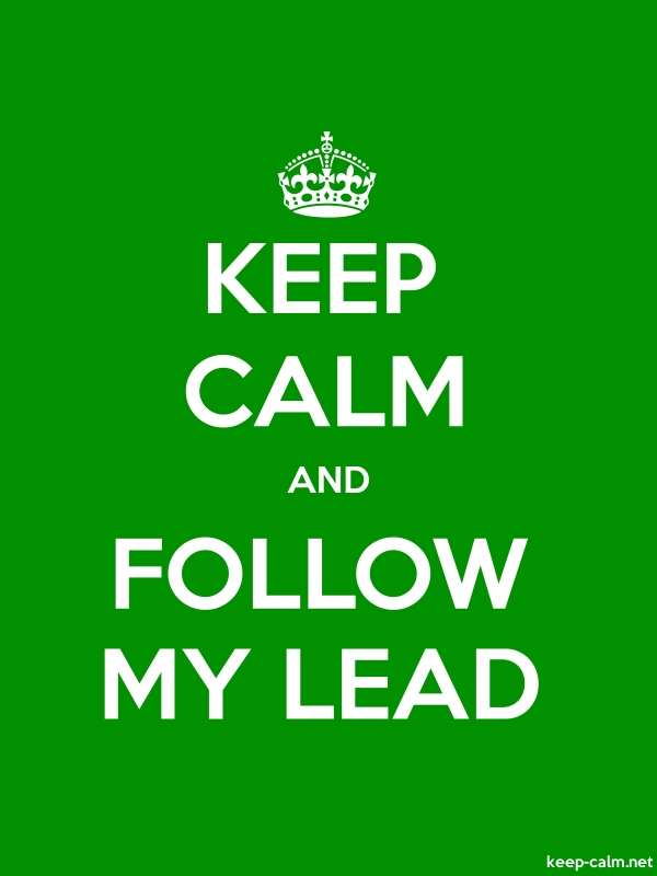 KEEP CALM AND FOLLOW MY LEAD - white/green - Default (600x800)