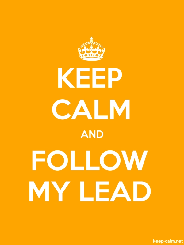 KEEP CALM AND FOLLOW MY LEAD - white/orange - Default (600x800)