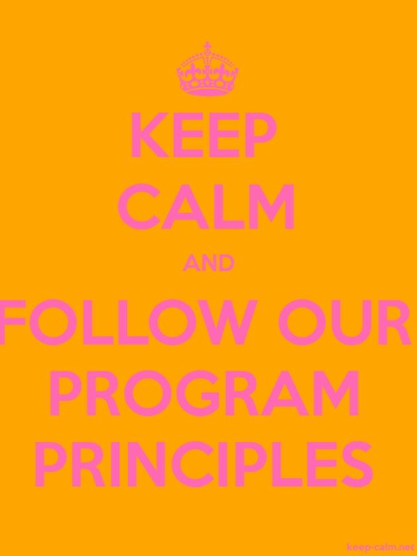 KEEP CALM AND FOLLOW OUR PROGRAM PRINCIPLES - pink/orange - Default (600x800)