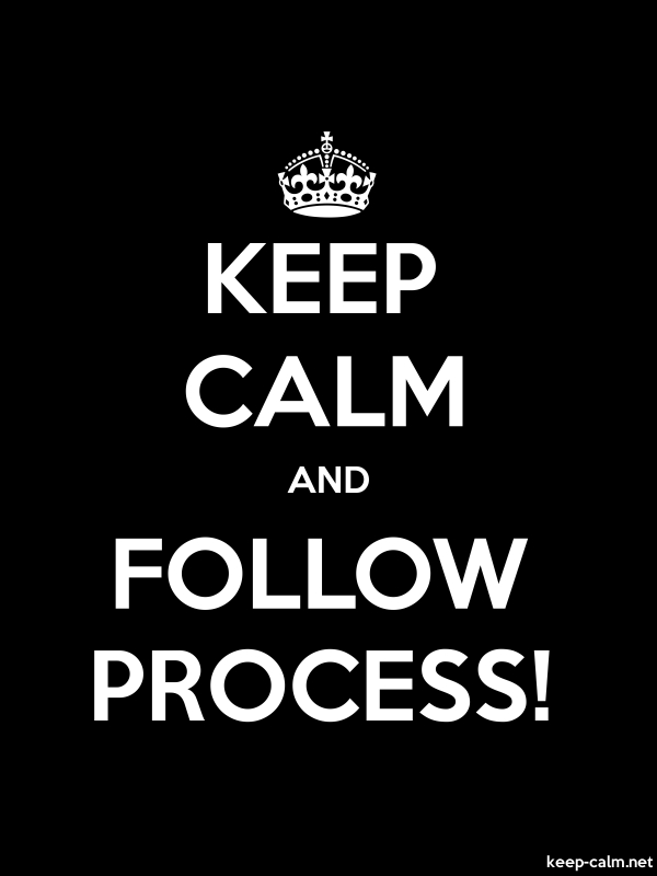 KEEP CALM AND FOLLOW PROCESS! - white/black - Default (600x800)