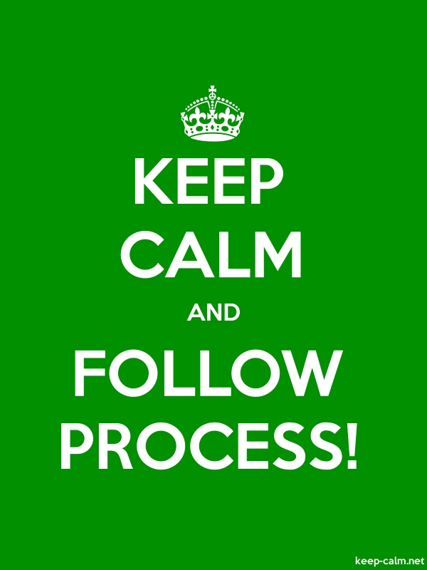 KEEP CALM AND FOLLOW PROCESS! - white/green - Default (600x800)