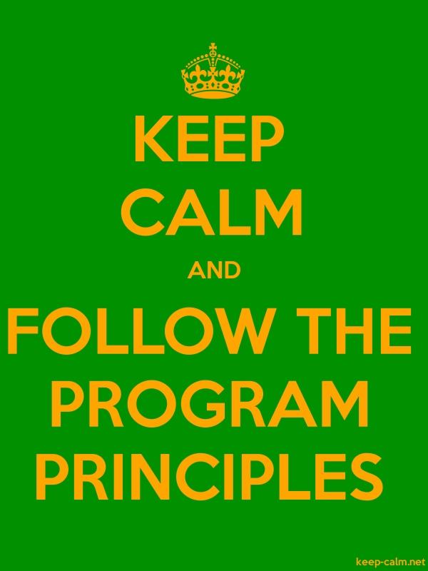 KEEP CALM AND FOLLOW THE PROGRAM PRINCIPLES - orange/green - Default (600x800)