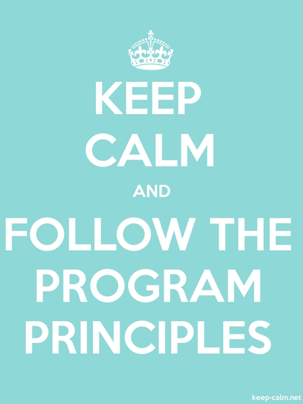 KEEP CALM AND FOLLOW THE PROGRAM PRINCIPLES - white/lightblue - Default (600x800)