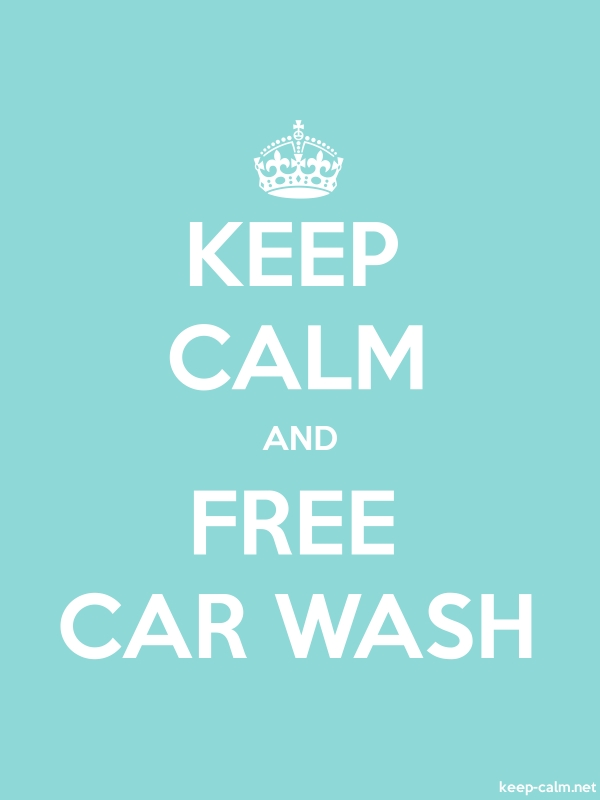 KEEP CALM AND FREE CAR WASH - white/lightblue - Default (600x800)