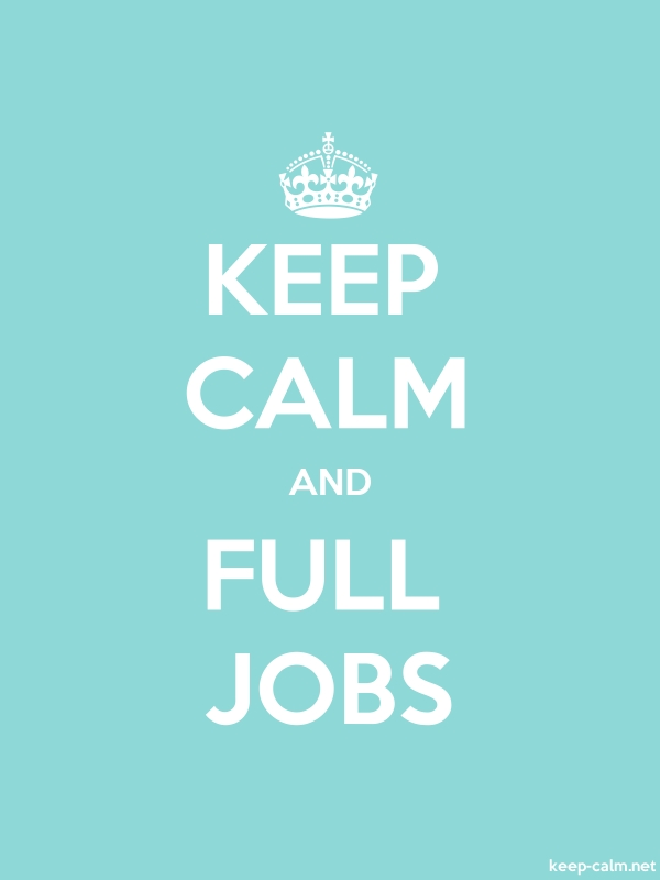 KEEP CALM AND FULL JOBS - white/lightblue - Default (600x800)