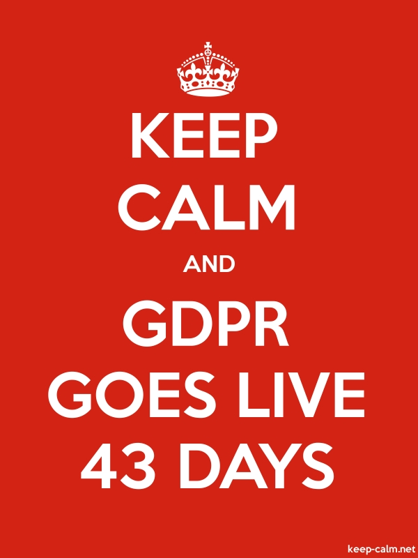 KEEP CALM AND GDPR GOES LIVE 43 DAYS - white/red - Default (600x800)