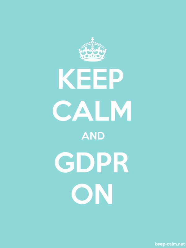 KEEP CALM AND GDPR ON - white/lightblue - Default (600x800)