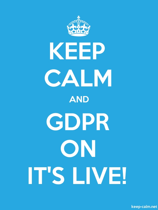 KEEP CALM AND GDPR ON IT'S LIVE! - white/blue - Default (600x800)