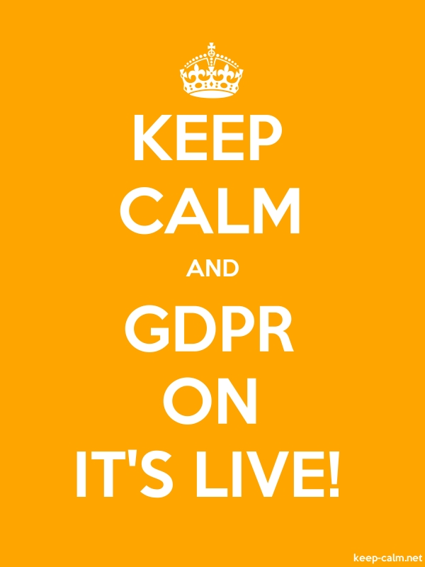KEEP CALM AND GDPR ON IT'S LIVE! - white/orange - Default (600x800)