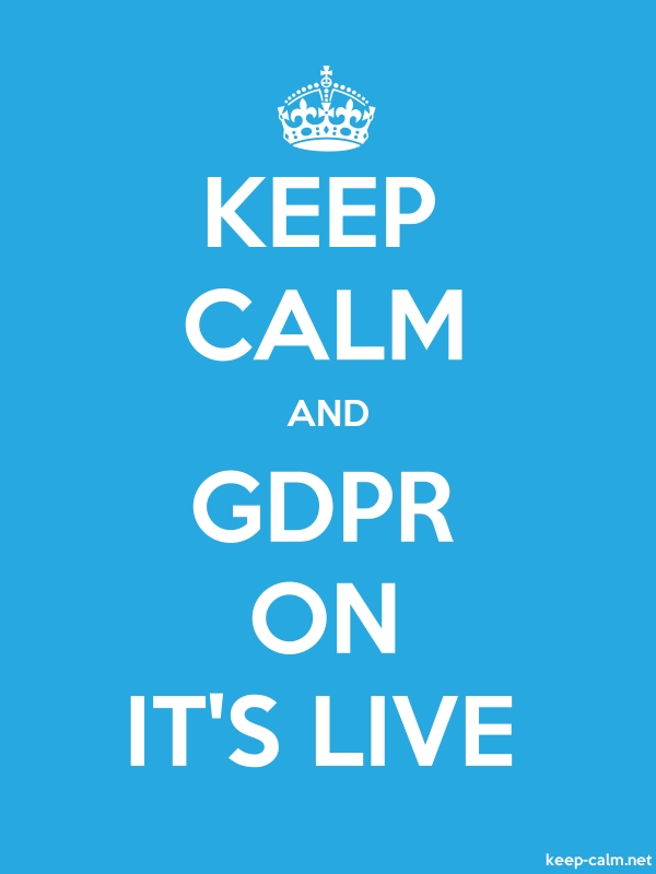 KEEP CALM AND GDPR ON IT'S LIVE - white/blue - Default (600x800)