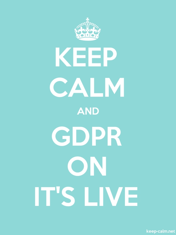 KEEP CALM AND GDPR ON IT'S LIVE - white/lightblue - Default (600x800)