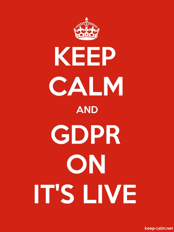 KEEP CALM AND GDPR ON IT'S LIVE - white/red - Default (600x800)