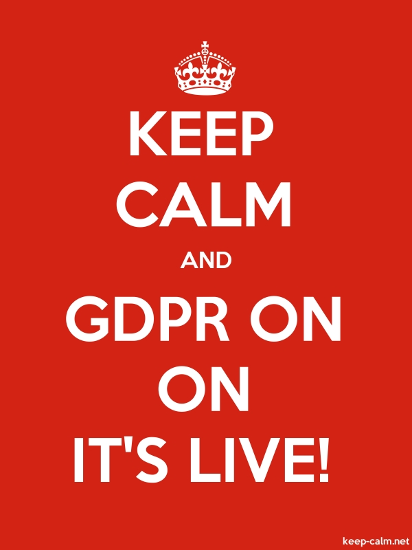 KEEP CALM AND GDPR ON ON IT'S LIVE! - white/red - Default (600x800)