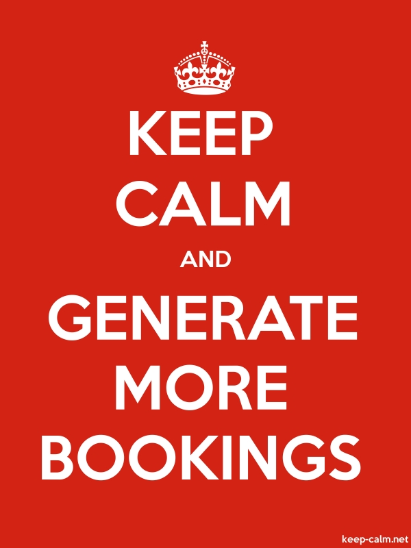 KEEP CALM AND GENERATE MORE BOOKINGS - white/red - Default (600x800)