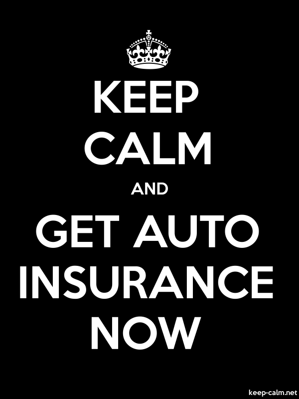 KEEP CALM AND GET AUTO INSURANCE NOW - white/black - Default (600x800)