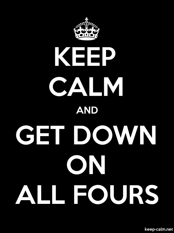 KEEP CALM AND GET DOWN ON ALL FOURS - white/black - Default (600x800)