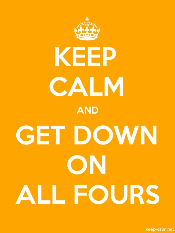 KEEP CALM AND GET DOWN ON ALL FOURS - white/orange - Default (600x800)