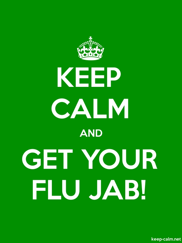 KEEP CALM AND GET YOUR FLU JAB! - white/green - Default (600x800)