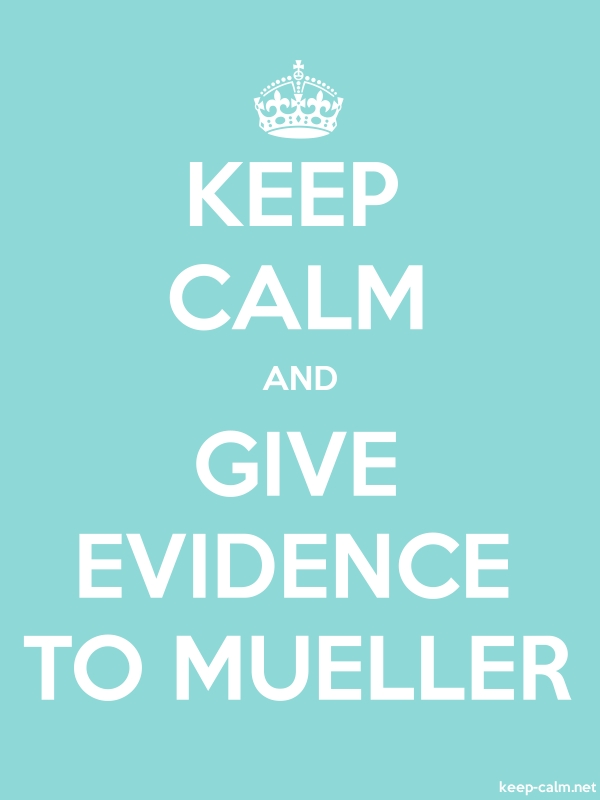 KEEP CALM AND GIVE EVIDENCE TO MUELLER - white/lightblue - Default (600x800)