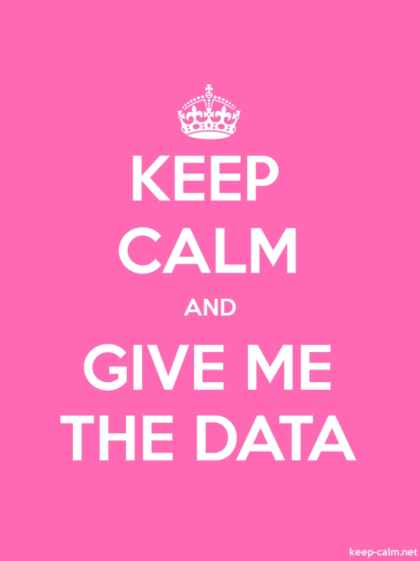 KEEP CALM AND GIVE ME THE DATA - white/pink - Default (600x800)
