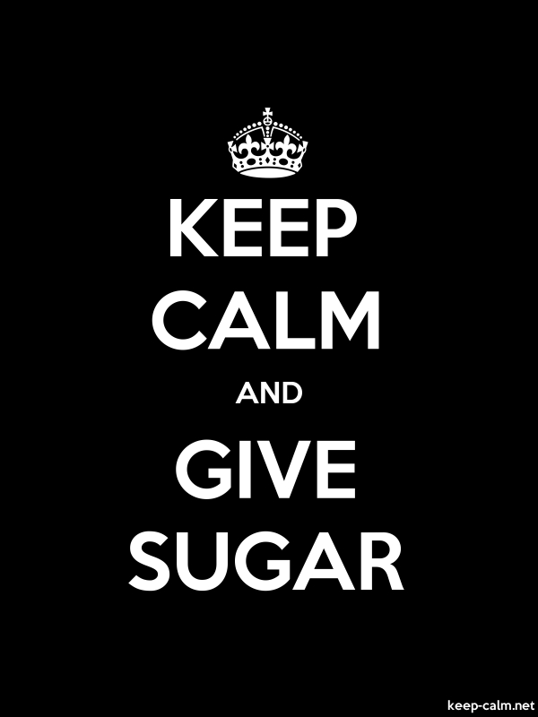 KEEP CALM AND GIVE SUGAR - white/black - Default (600x800)