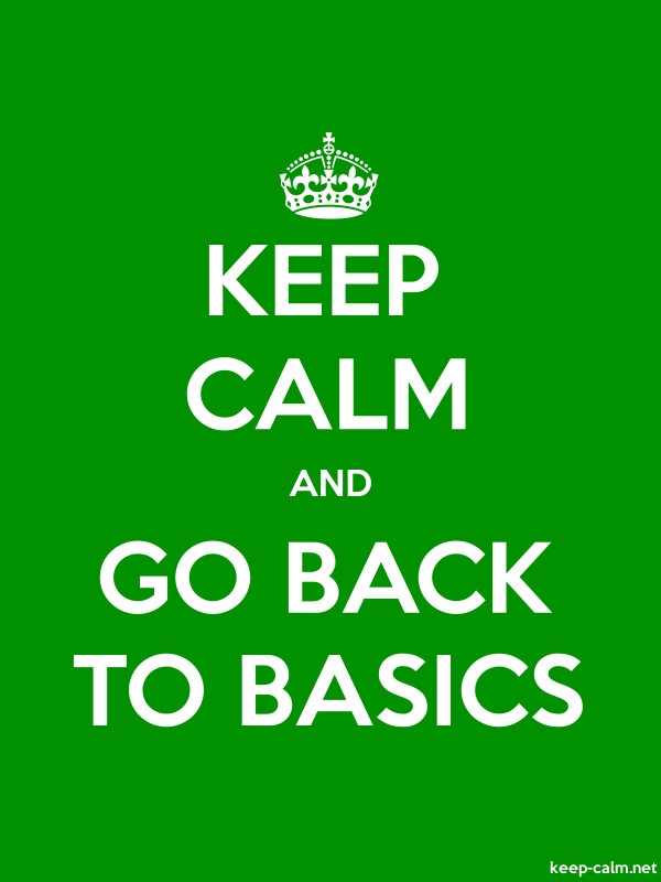KEEP CALM AND GO BACK TO BASICS - white/green - Default (600x800)