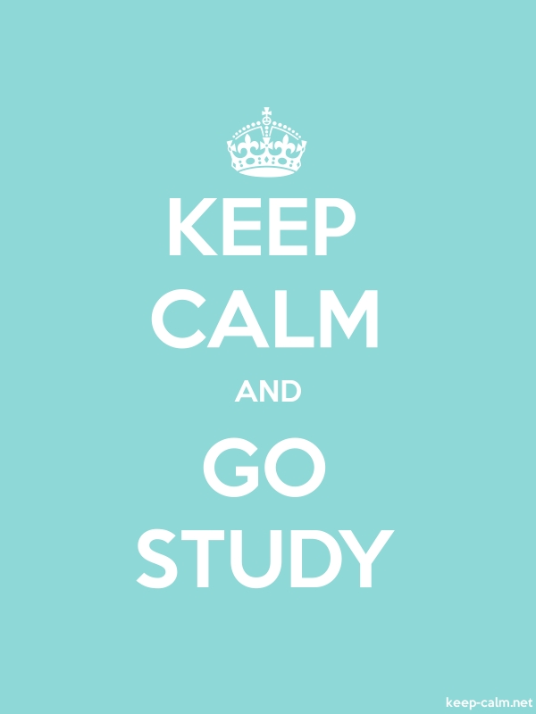 KEEP CALM AND GO STUDY - white/lightblue - Default (600x800)
