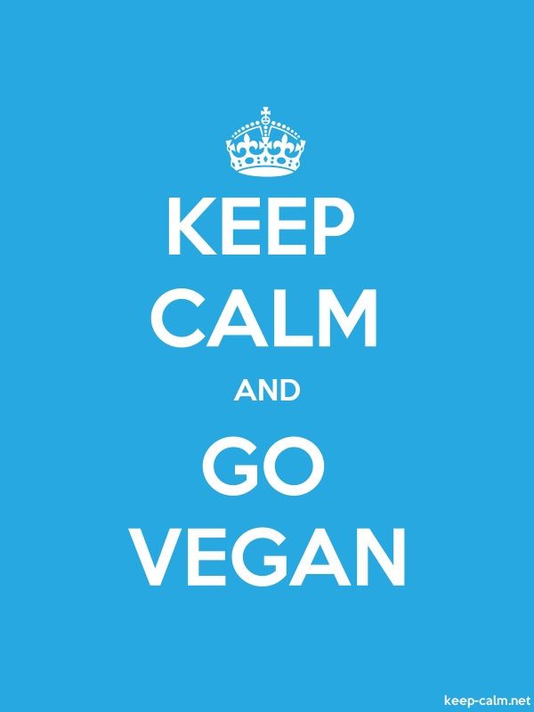 KEEP CALM AND GO VEGAN - white/blue - Default (600x800)