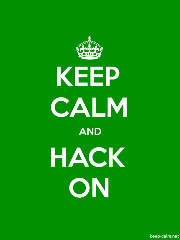 KEEP CALM AND HACK ON - white/green - Default (600x800)