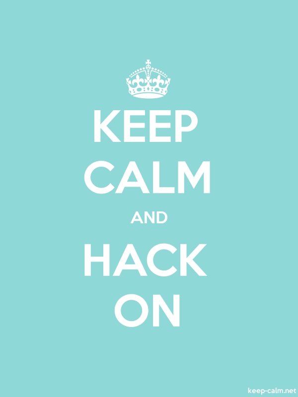 KEEP CALM AND HACK ON - white/lightblue - Default (600x800)