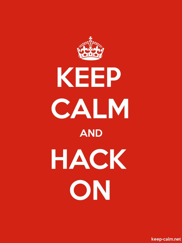 KEEP CALM AND HACK ON - white/red - Default (600x800)