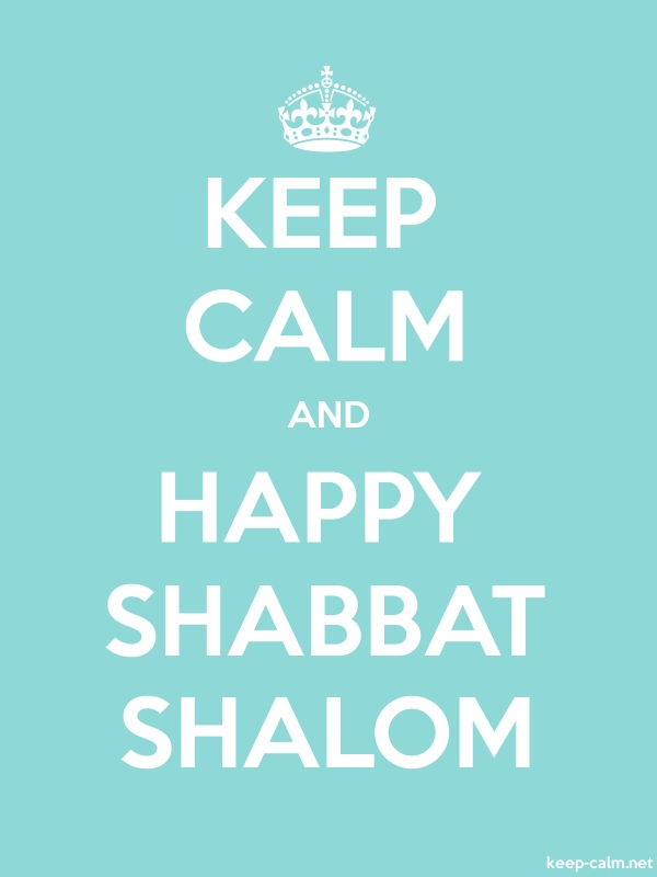 KEEP CALM AND HAPPY SHABBAT SHALOM - white/lightblue - Default (600x800)