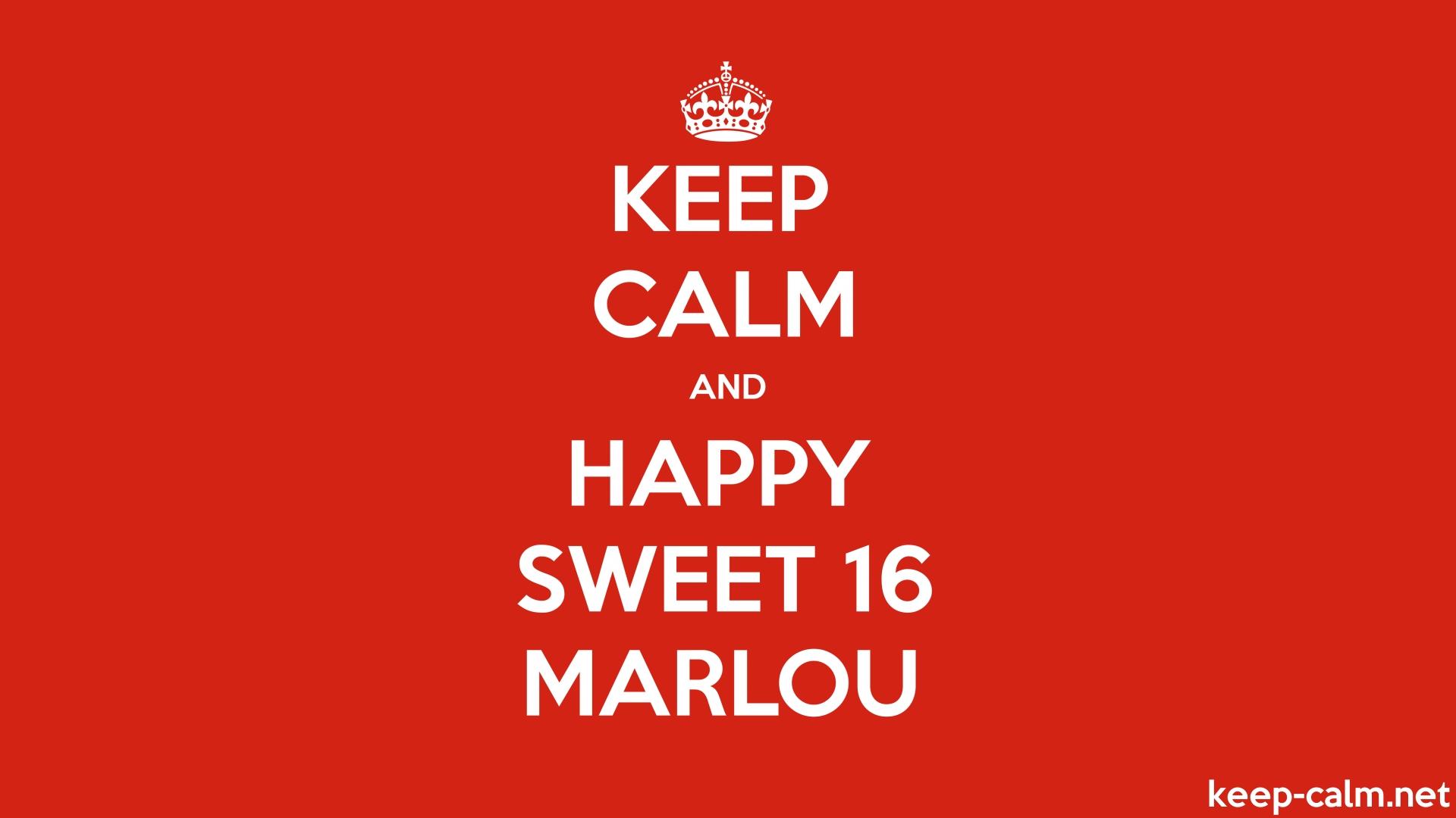 KEEP CALM AND HAPPY SWEET 16 MARLOU