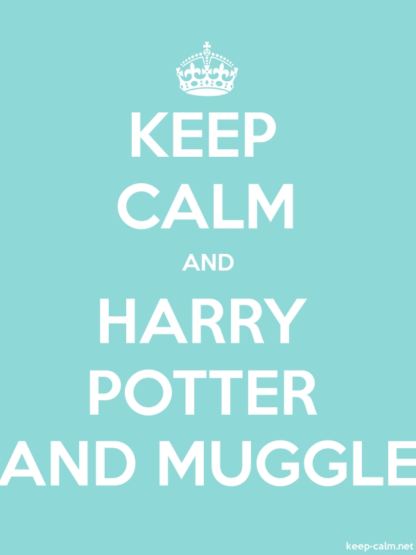 KEEP CALM AND HARRY POTTER AND MUGGLE - white/lightblue - Default (600x800)