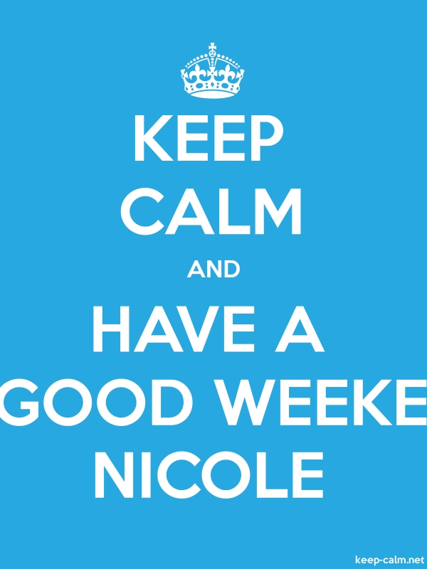 KEEP CALM AND HAVE A GOOD WEEKE NICOLE - white/blue - Default (600x800)