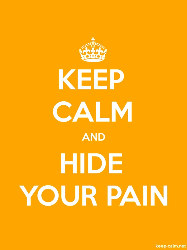 KEEP CALM AND HIDE YOUR PAIN - white/orange - Default (600x800)