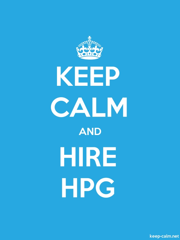 KEEP CALM AND HIRE HPG - white/blue - Default (600x800)