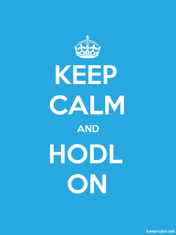 KEEP CALM AND HODL ON - white/blue - Default (600x800)