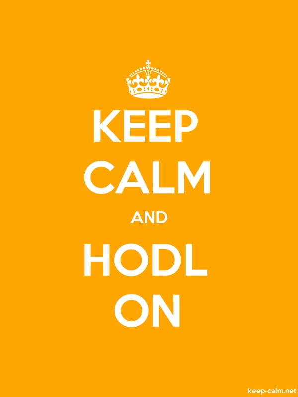 KEEP CALM AND HODL ON - white/orange - Default (600x800)