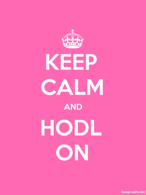 KEEP CALM AND HODL ON - white/pink - Default (600x800)