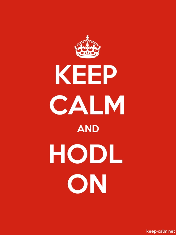 KEEP CALM AND HODL ON - white/red - Default (600x800)
