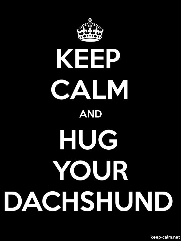 KEEP CALM AND HUG YOUR DACHSHUND - white/black - Default (600x800)