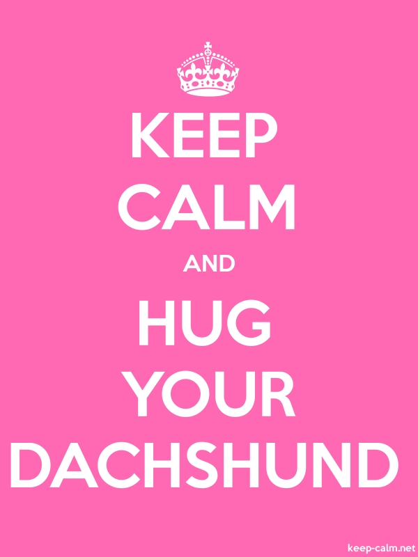 KEEP CALM AND HUG YOUR DACHSHUND - white/pink - Default (600x800)