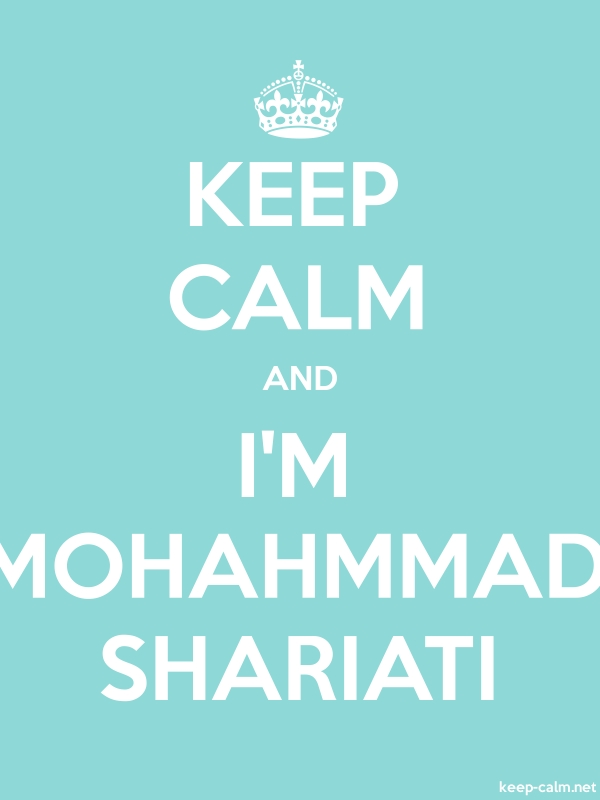 KEEP CALM AND I'M MOHAHMMAD SHARIATI - white/lightblue - Default (600x800)