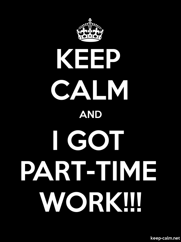 KEEP CALM AND I GOT PART-TIME WORK!!! - white/black - Default (600x800)