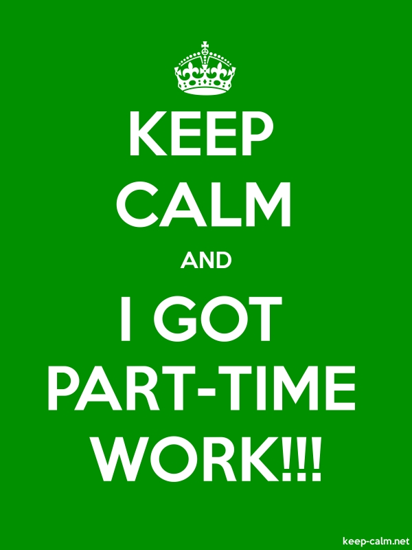 KEEP CALM AND I GOT PART-TIME WORK!!! - white/green - Default (600x800)