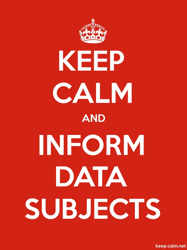 KEEP CALM AND INFORM DATA SUBJECTS - white/red - Default (600x800)