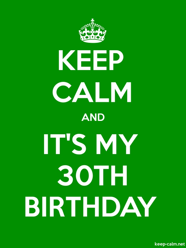 KEEP CALM AND IT'S MY 30TH BIRTHDAY - white/green - Default (600x800)