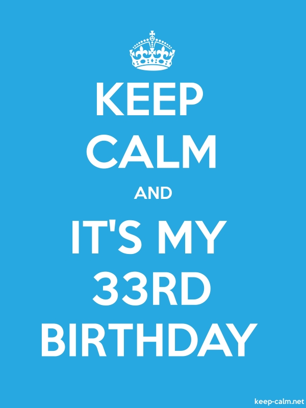 KEEP CALM AND IT'S MY 33RD BIRTHDAY - white/blue - Default (600x800)