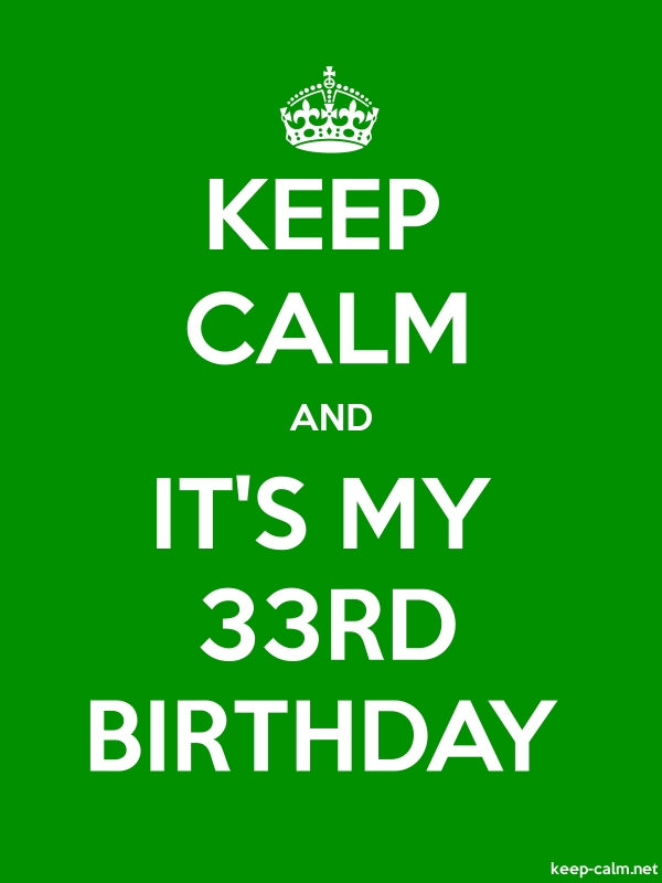 KEEP CALM AND IT'S MY 33RD BIRTHDAY - white/green - Default (600x800)